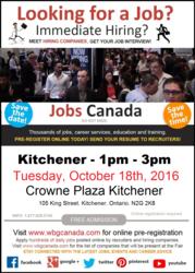 Kitchener Job Fair – October 18th,  2016