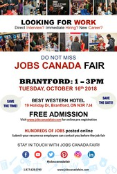 Brantford Job Fair October 16th,  2018. 1:00 pm - 3:00 pm